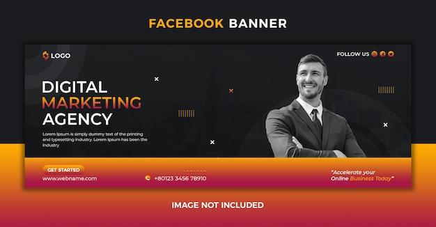 Агентство цифрового маркетинга в социальных сетях публикует обложку facebook и шаблон веб-баннера