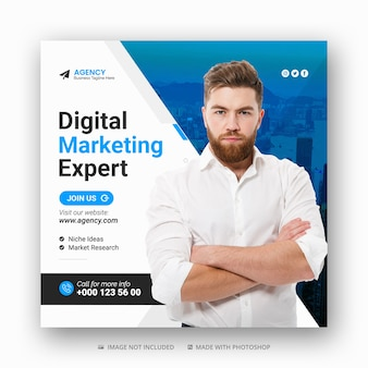 Digital marketing agency social media post and web banner or square flyer poster template