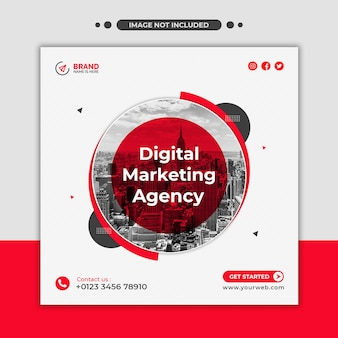 Digital marketing agency social media web banner or square flyer template