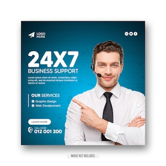 Digital marketing agency square social media instagram post or web banner template
