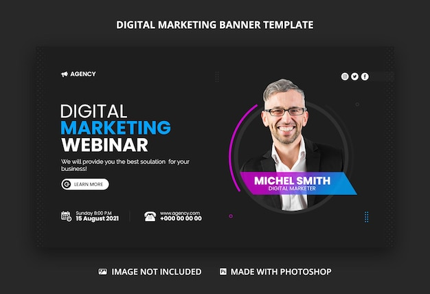 Digital marketing agency web banner and youtube thumbnail template
