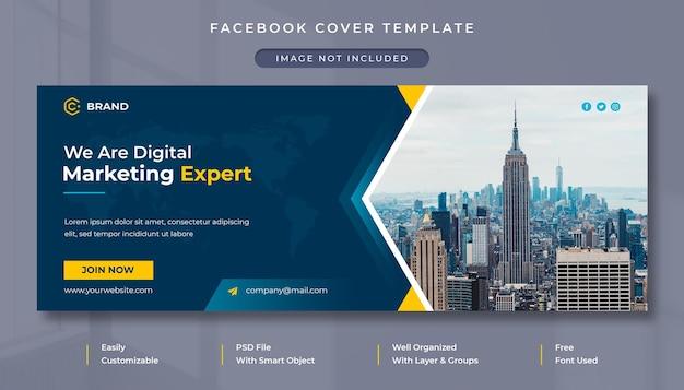 Обложка facebook и шаблон веб-баннера агентства цифрового маркетинга и корпоративного бизнеса