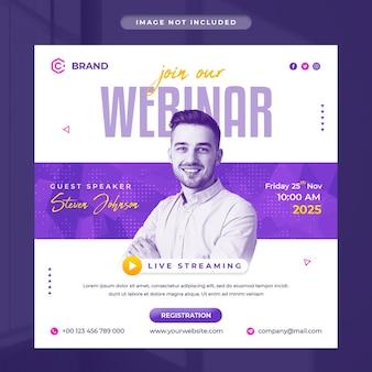 Цифровой маркетинг и корпоративный веб-семинар в прямом эфире, баннер в instagram или шаблон сообщения в социальных сетях