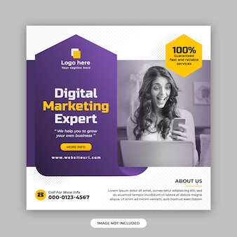 디지털 마케팅 및 기업 소셜 미디어 게시물 및 웹 배너 디자인 템플릿