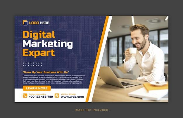 Цифровой маркетинг и корпоративный пост в социальных сетях и шаблон веб-баннера premium psd