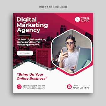 Цифровой маркетинг бизнес-баннер или шаблон сообщения в социальных сетях