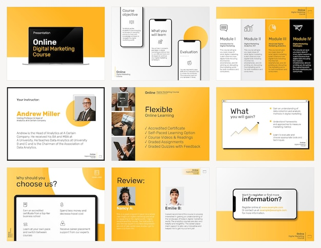 Цифровой маркетинг бизнес-шаблон psd пост в социальных сетях в желтой теме