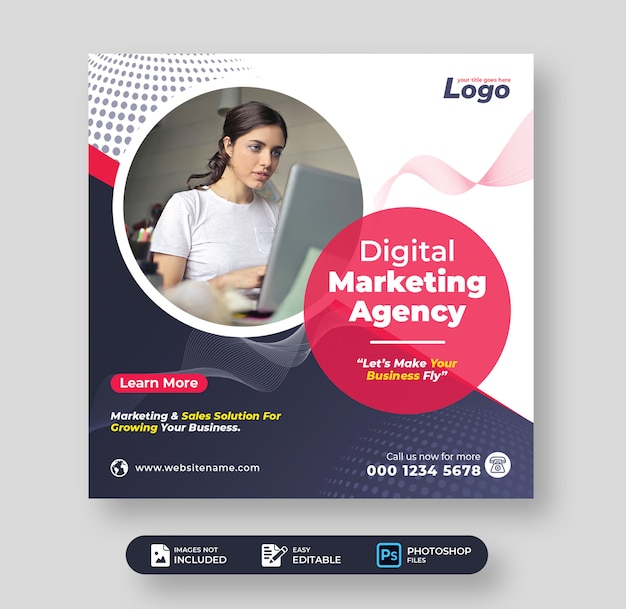 디지털 마케팅 기업 비즈니스 소셜 미디어 게시물 템플릿 프리미엄 PSD 파일