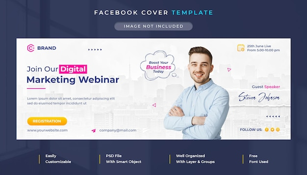 Digital marketing and corporate live webinar facebook cover and web banner template