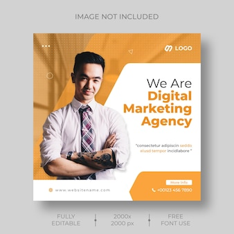 Digital marketing corporate social media and instagram post template