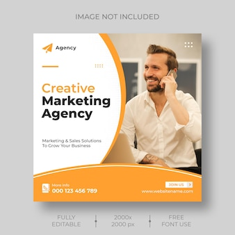 디지털 마케팅 기업 소셜 미디어 라이브 웹 세미나 및 instagram 게시물 템플릿