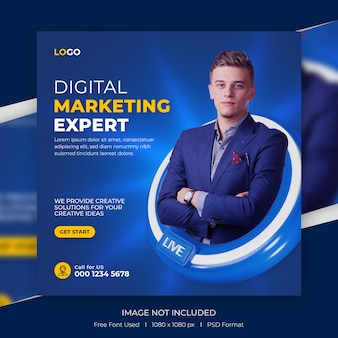 Digital marketing and corporate social media promotion for instagram post template