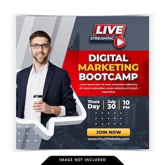 Digital marketing course for social media instagram post template