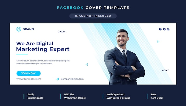 Digital marketing and creative business agency facebook cover and web banner template