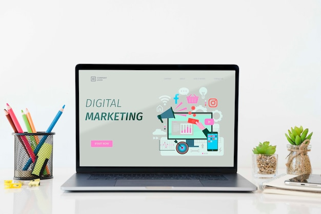 Digital marketing desk concept