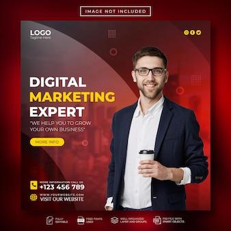 Сообщение эксперта по цифровому маркетингу и корпоративному бизнесу в социальных сетях или шаблон веб-баннера