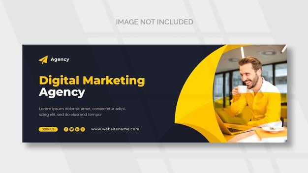 Цифровой маркетинг facebook обложка и шаблон веб-баннера