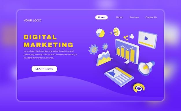 디지털 마케팅 방문 페이지 무료 psd