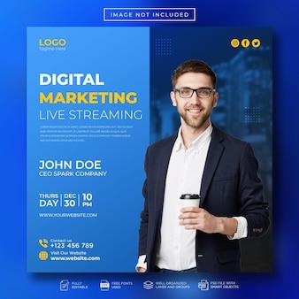 Пост в социальных сетях и шаблон веб-баннера в прямом эфире по цифровому маркетингу