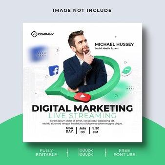 Digital marketing live streaming social media post template