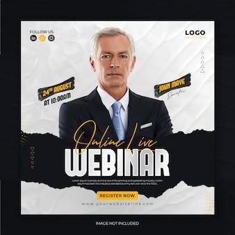 Digital marketing live webinar and corporate social media post template free psd