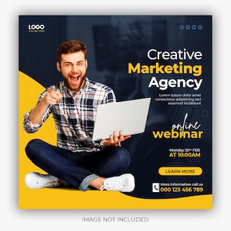 Digital marketing live webinar and corporate social media post template Free Psd
