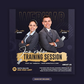 Digital marketing live webinar and corporate social media post and web banner design template