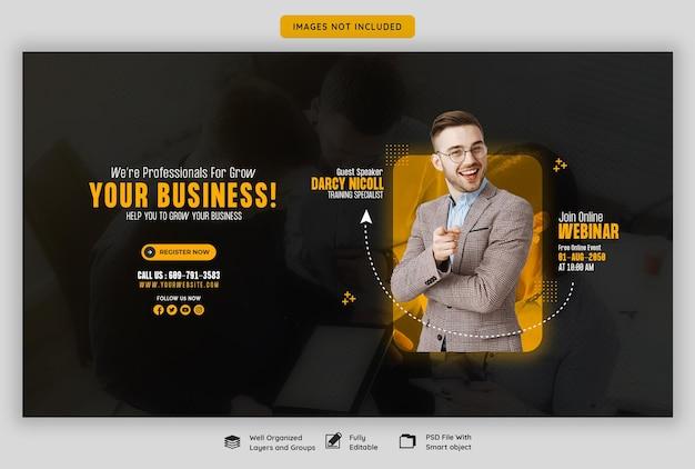 Webinar live di marketing digitale e modello di banner web aziendale