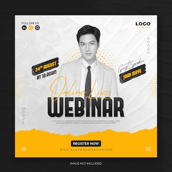 Digital marketing online  live webinar and corporate social media post template