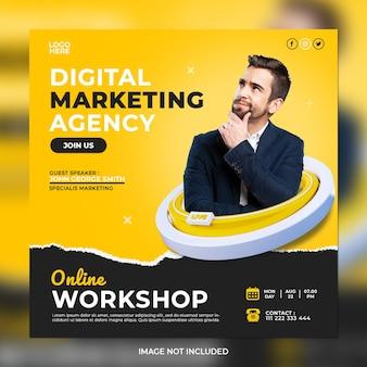 Digital marketing online workshop and corporate social media post template
