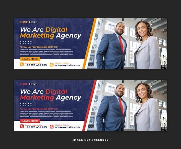 Цифровой маркетинг в социальных сетях баннер дизайн шаблон psd
