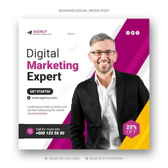 Цифровой маркетинг в социальных сетях instagram пост баннер шаблон