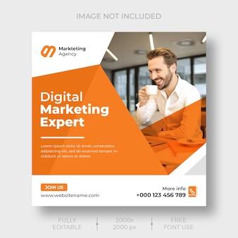 Digital marketing social media and instagram post banner template
