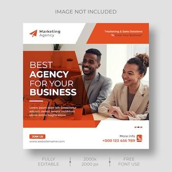 Social media marketing digitale e banner modello post instagraminstagram