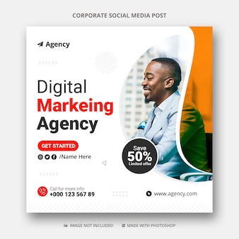 Digital marketing social media post and instagram ad banner template