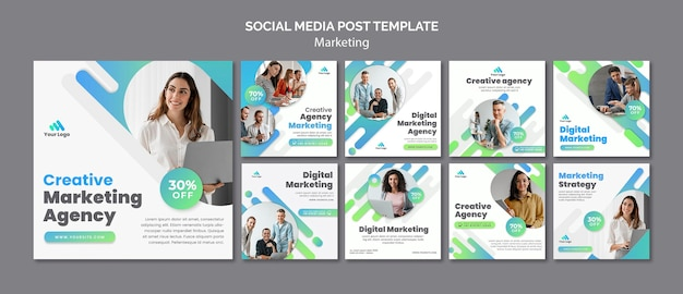Digital marketing social media posts
