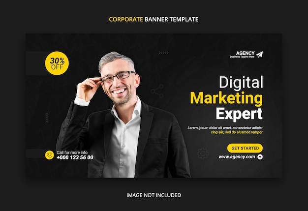 Шаблон дизайна веб-баннера цифрового маркетинга