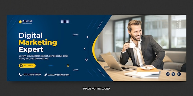 Digital marketing web and facebook cover social media post banner template