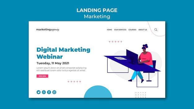 デジタルマーケティングウェビナーのランディングページ