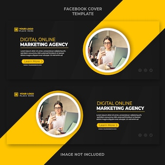 Digital online marketing agency promotion facebook cover banner template