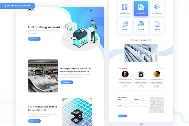 Digital printing website page design