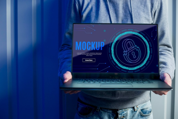 Mock-up di sicurezza digitale e uomo