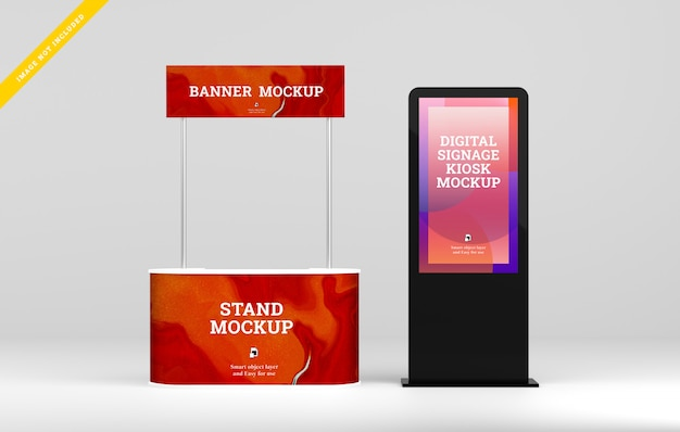 Digital signage led display with booth stand banner mockup.