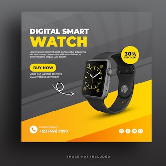 Digital smart watch social media banner template