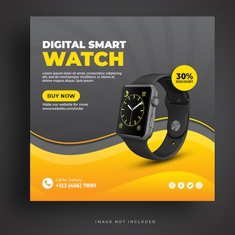 Digital smartwatch social media banner template