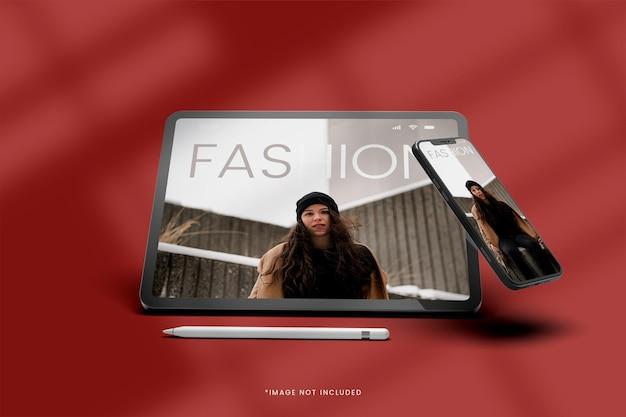 디지털 태블릿 및 스마트 폰 디스플레이보기 모형