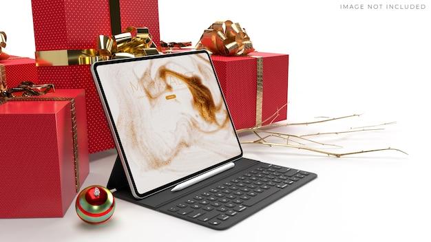 Мокап цифрового планшета для брендинга глобального бизнеса