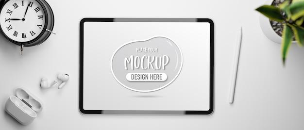 Digital tablet with mockup screen in 3d rendering