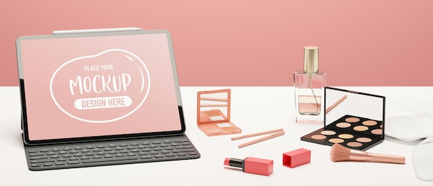 Digital tablet with mockup screen keyboard cosmetics and beauty items