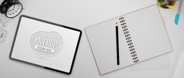 Digital tablet with mockup screen and opened blank notebook 3d rendering